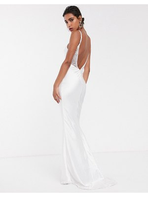 ASOS Edition satin cami wedding dress with train-white
