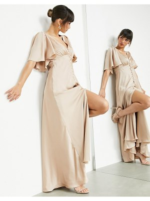 ASOS Edition satin flutter sleeve maxi dress with button front in caramel-neutral