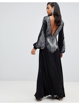 ASOS Edition satin maxi dress with feather embellished back