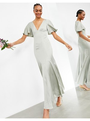 ASOS Edition satin maxi dress with flutter sleeve in sage green
