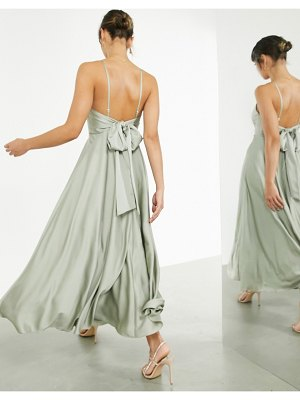 ASOS Edition satin maxi dress with tie back in sage green