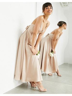 ASOS Edition satin midi dress with tie back in caramel-neutral