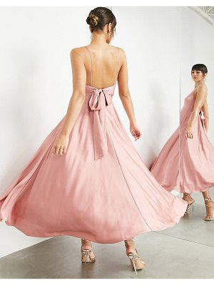 ASOS Edition satin midi dress with tie back in dusky rose-pink
