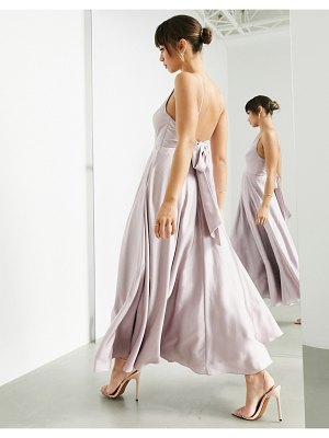 ASOS Edition satin midi dress with tie back in pale lavender-purple
