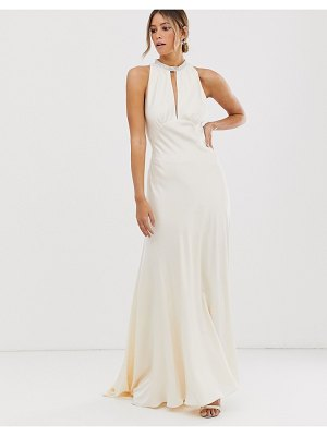 ASOS Edition satin wedding dress with embellished trim-white