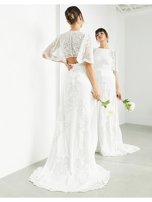 ASOS Edition savannah vintage embroidered wedding dress with flutter sleeve-white