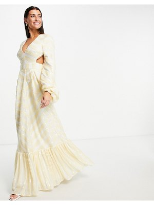 ASOS Edition sequin stripe maxi dress with blouson sleeve and tiered hem-white