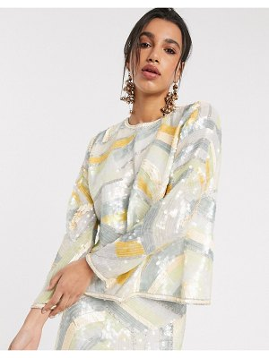 ASOS Edition split back top in abstract sequin matching set-multi