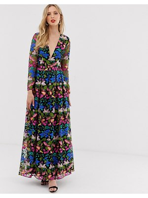 ASOS Edition v neck embroidered maxi dress-multi