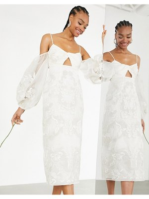ASOS Edition willow embroidered twist front midi wedding dress with statement sleeve-white