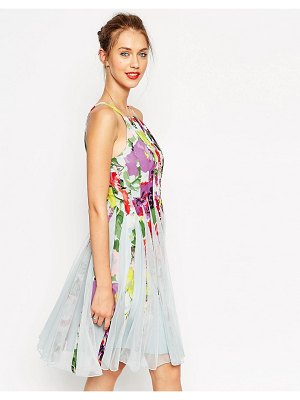 ASOS floral mesh insert fit and flare pinny mini dress