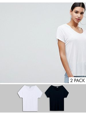 ASOS DESIGN t-shirt with drapey batwing sleeve 2 pack
