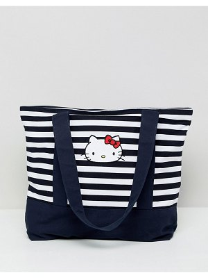 ASOS DESIGN Hello Kitty x  stripe tote bag with embroidery detail