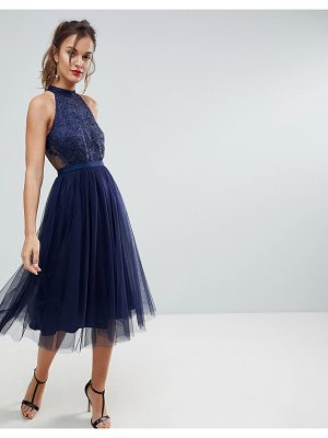ASOS Lace Tulle Pleated Midi Scallop Dress