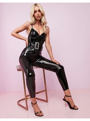 ASOS Luxe corseted vinyl belted catsuit with embellished buckle-black
