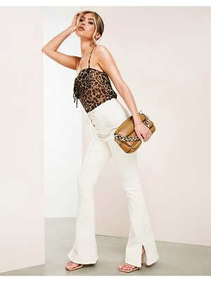 ASOS Luxe hourglass flared jean with lace up front in ecru-neutral