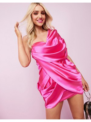 ASOS Luxe one shoulder premium satin manipulated drape cupped mini dress with hidden boning-pink