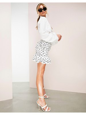 ASOS Luxe ruched cotton mini skirt with ruffle in spot print-multi