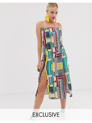 ASOS MADE IN kenya cami dress with splits in grid print-multi