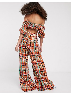 ASOS MADE IN kenya check print wide leg pants two-piece-red
