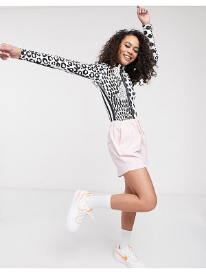 ASOS MADE IN kenya funnel neck long sleeve t-shirt in leopard stripe-multi