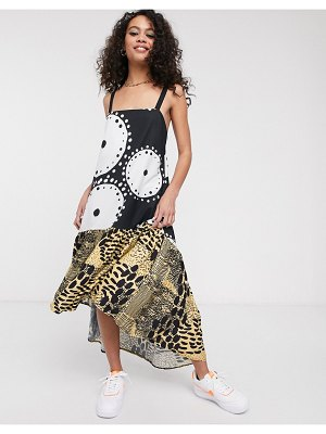 ASOS MADE IN kenya midi dress with drop hem in mixed print-multi