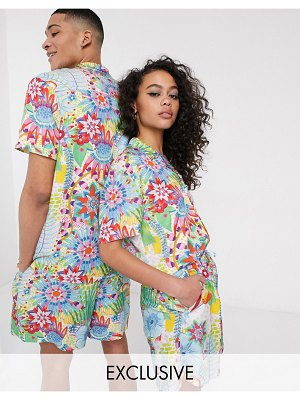 ASOS MADE IN kenya revere shirt in bright floral print-multi