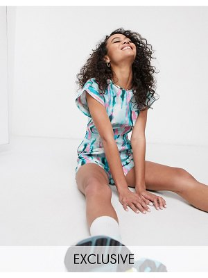 ASOS MADE IN kenya tye dye romper-green