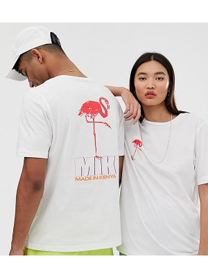 ASOS MADE IN kenya unisex flamingo print t shirt-white