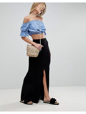 ASOS DESIGN maxi skirt with button front and split detail-black