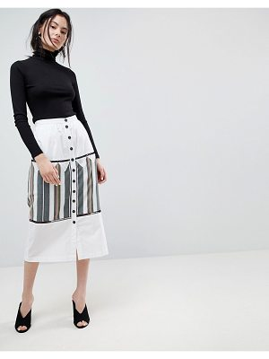 ASOS DESIGN midi skirt with button front and stripe detail