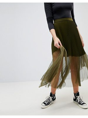 ASOS DESIGN pleated midi skirt with sheer detail