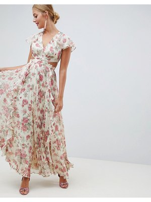 ASOS pleated ruffle maxi dress with cut out in floral print