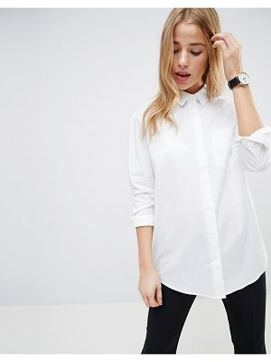 ASOS DESIGN slim boyfriend shirt with pleat detail back in stretch cotton-white