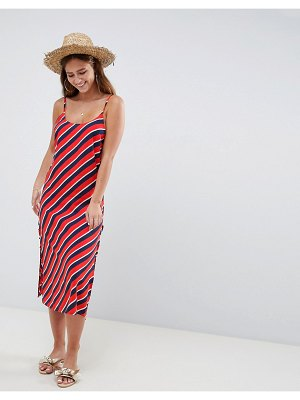 ASOS DESIGN stripe print lace up side beach dress