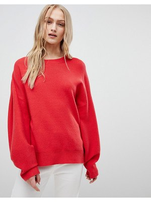ASOS DESIGN sweater in oversize with banana sleeve-red