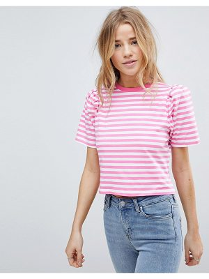 ASOS T-Shirt with Puff Sleeve in Bright Stripe
