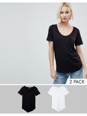 ASOS DESIGN asos t-shirt with scoop neck and curved hem 2 pack