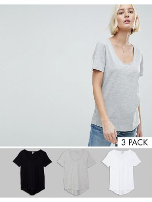 ASOS T-Shirt with Scoop Neck and Curved Hem 3 Pack