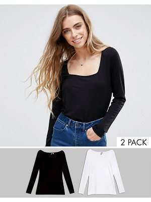 ASOS T-Shirt With Square Neck and Long Sleeve 2 Pack