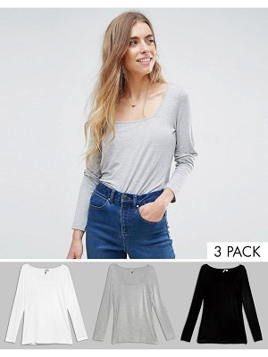 ASOS T-Shirt With Square Neck and Long Sleeve 3 Pack