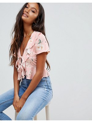 ASOS tie front top in pink base floral print
