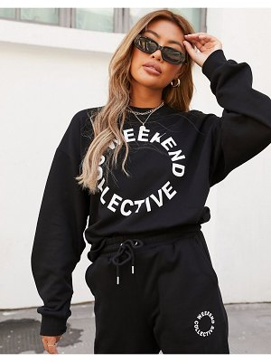 ASOS Weekend Collective co-ord oversized sweatshirt with logo in black