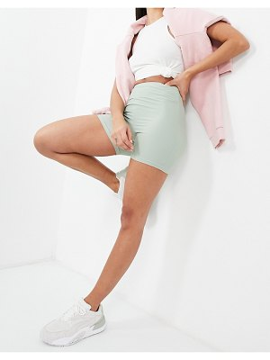 ASOS Weekend Collective coordinating short legging shorts in matte stretch in pale khaki-green