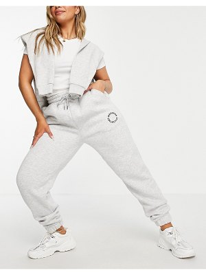 ASOS Weekend Collective hourglass oversized sweatpants with logo in gray-grey