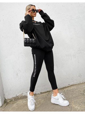 ASOS Weekend Collective legging with logo in black