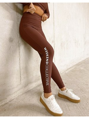 ASOS Weekend Collective leggings in matte stretch in brown