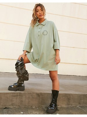 ASOS Weekend Collective oversized collared mini dress-green