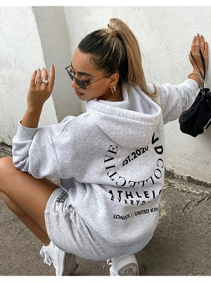 ASOS Weekend Collective oversized hoodie with stacked logo in ice heather-grey