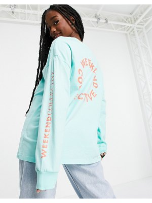 ASOS Weekend Collective oversized longsleeve t-shirt with back logo in mint-green